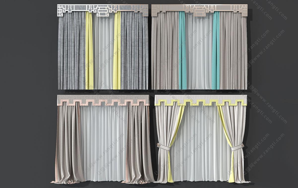 新中式窗帘、窗帘盒3D模型