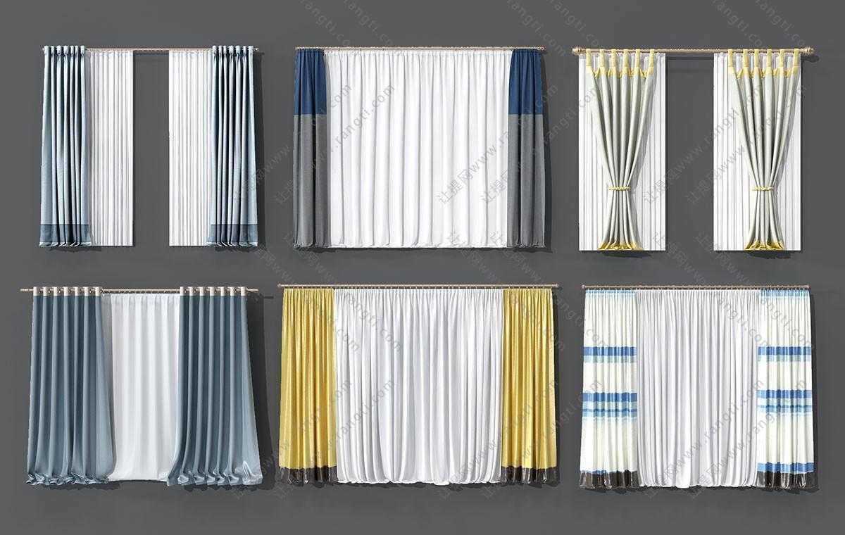 简欧轻奢窗帘、套色窗帘3D模型