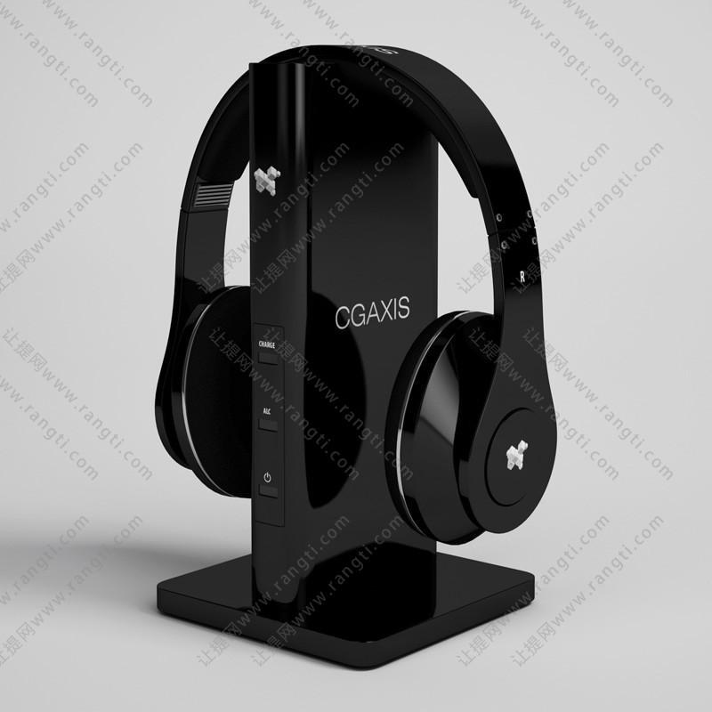 黑色头戴式耳机3D模型