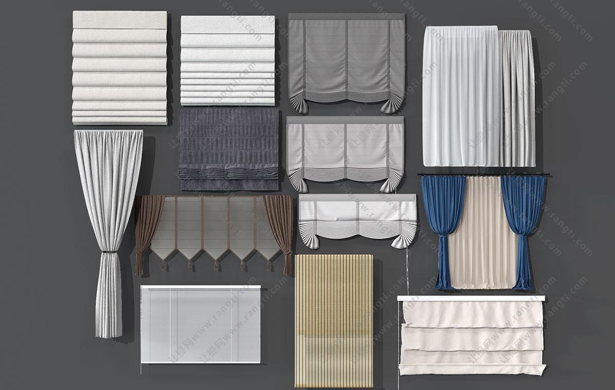 现代窗帘拉帘、卷帘、竹帘3D模型