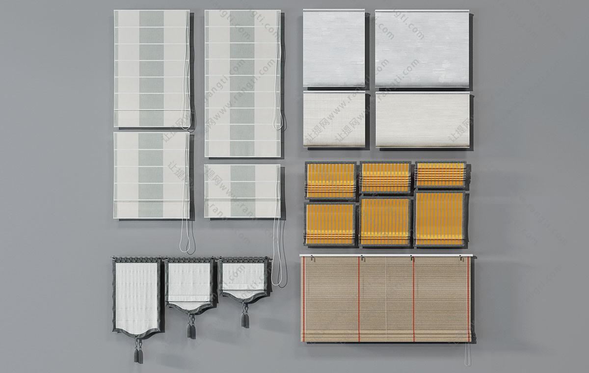 现代卫生间拉帘、草帘、窗幔3D模型