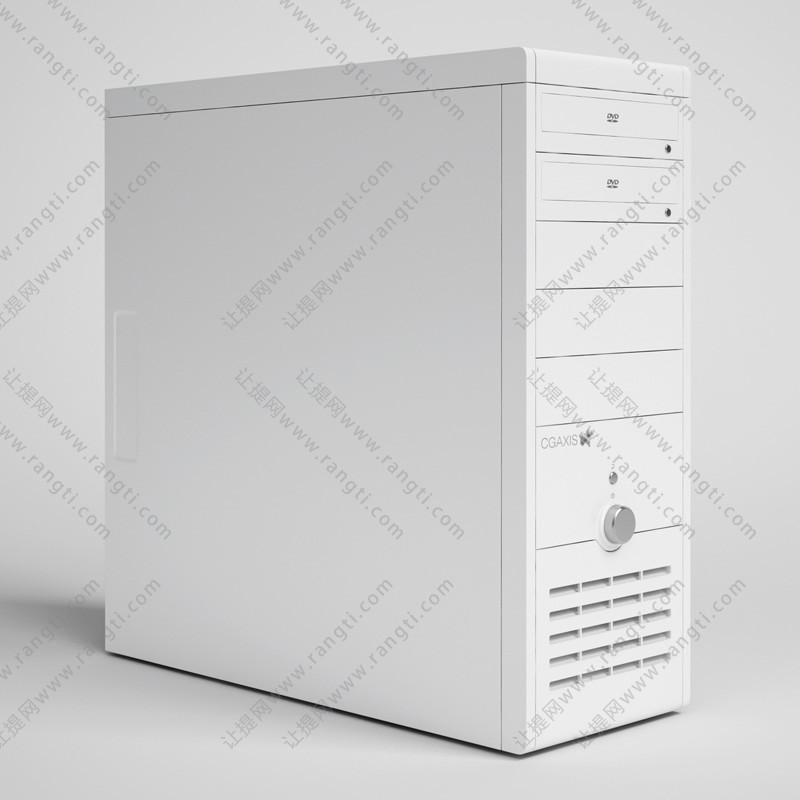 白色带DVD电脑机箱3D模型