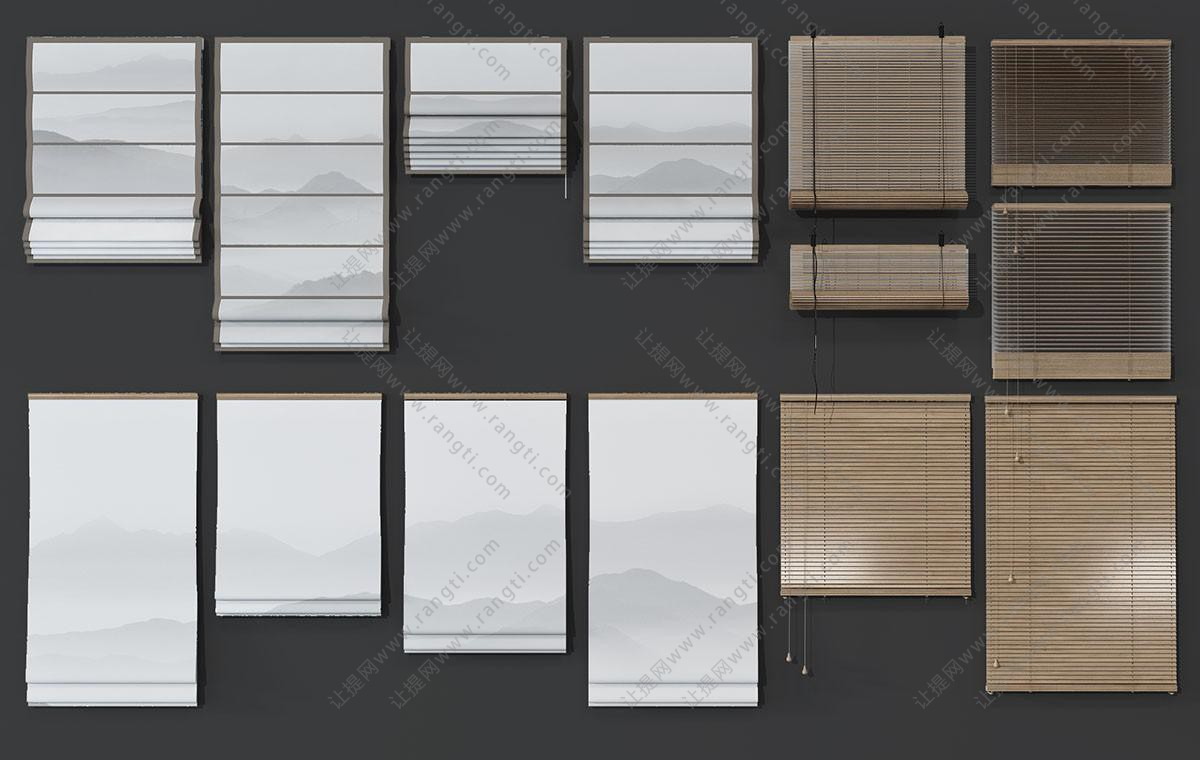 新中式拉帘、竹席卷帘3D模型
