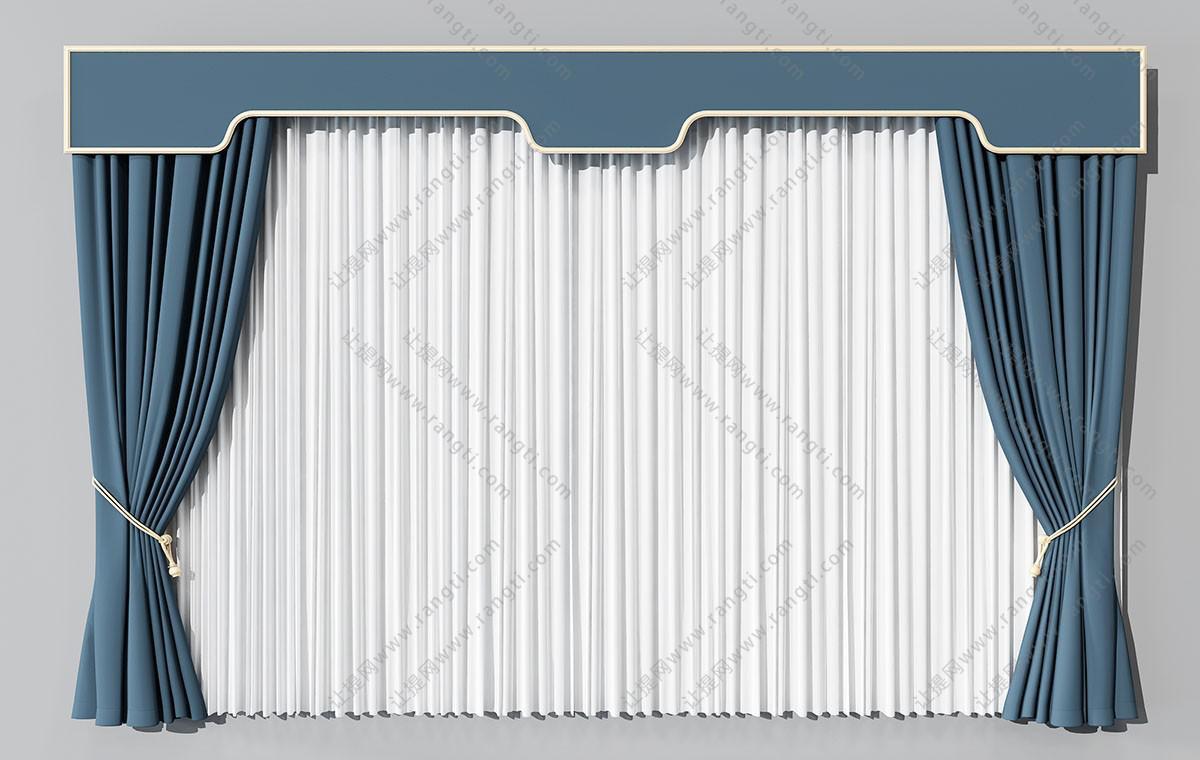 新中式窗帘、纱帘3D模型