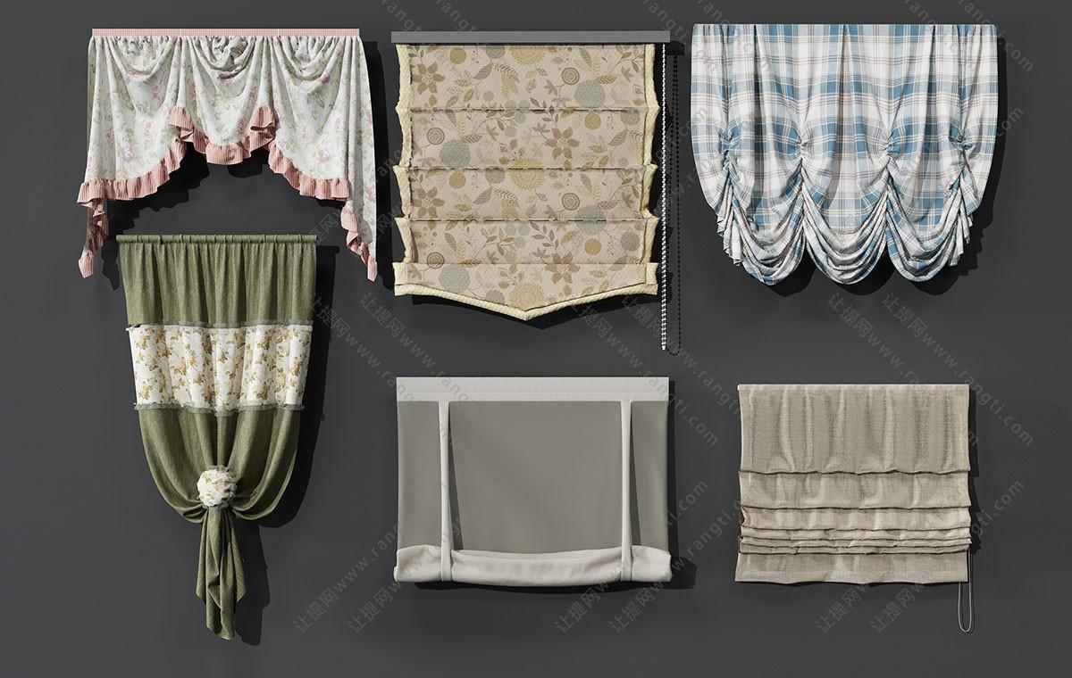 欧式田园窗帘、拉帘、罗马帘3D模型
