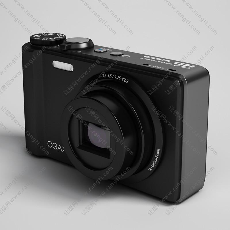 黑色数码相机3D模型