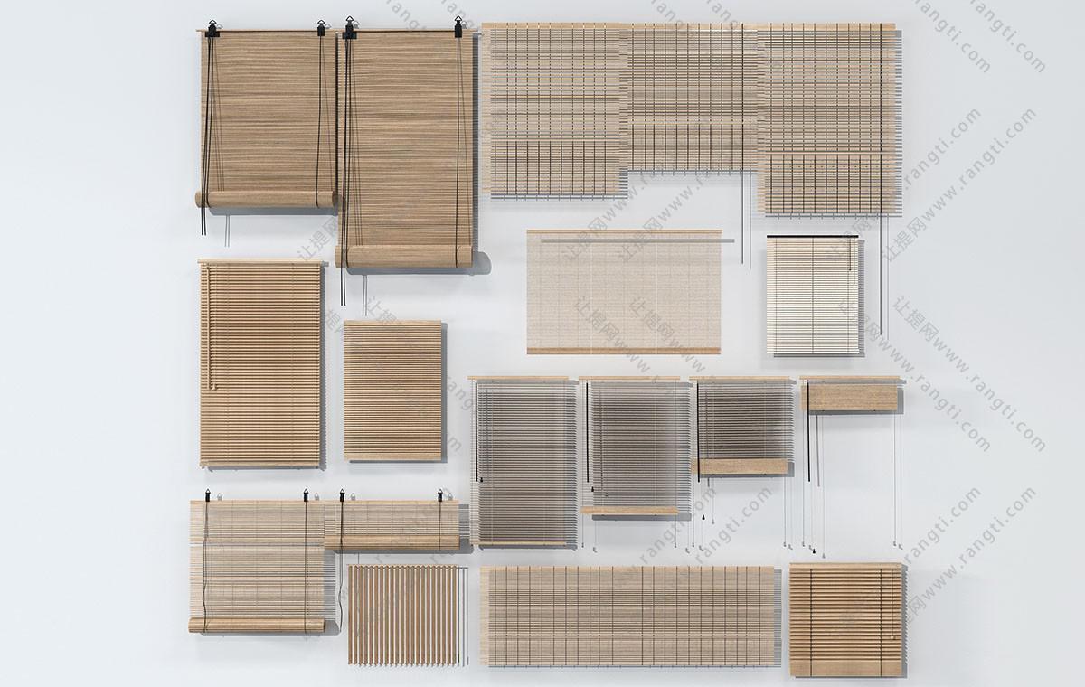 中式田园竹帘、卷帘、拉帘、百叶窗帘3D模型