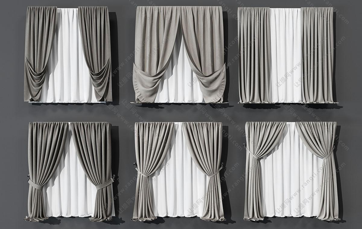 现代窗帘、垂帘、纱帘3D模型