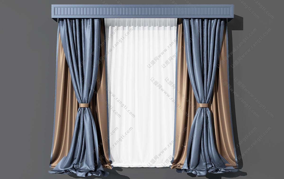 简欧光面蓝色窗帘、窗帘盒3D模型