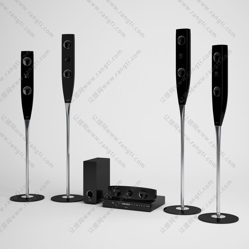 高脚杯形状音箱、低音炮及DVD机组合3D模型