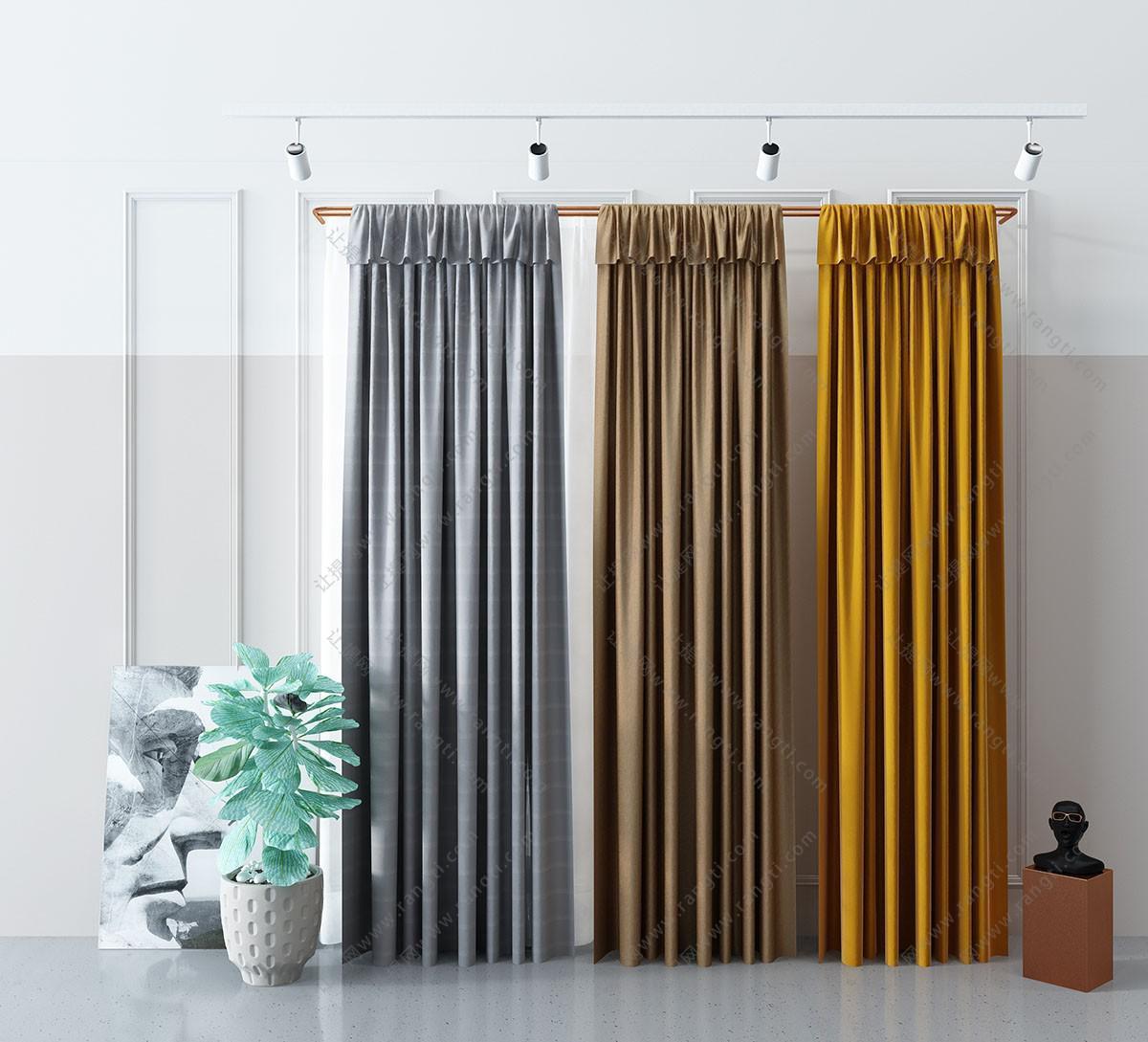 现代轻奢窗帘3D模型