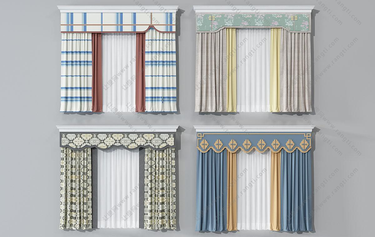 新中式花朵图案窗帘、窗帘盒3D模型
