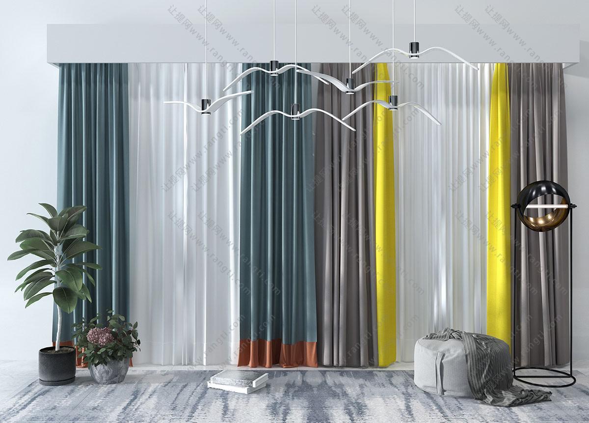 北欧纯色、拼色窗帘3D模型