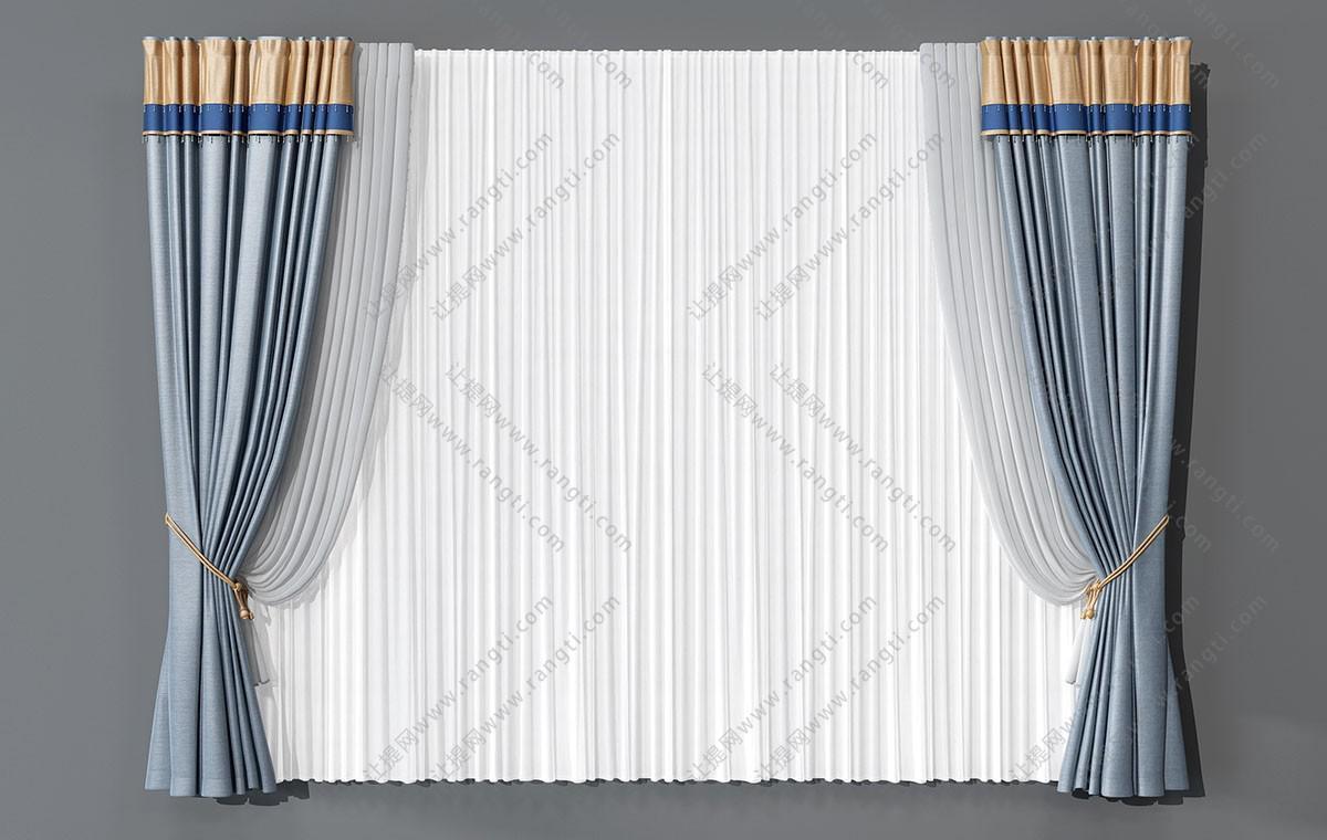 欧式灰蓝色拼接黄色窗幔窗帘3D模型