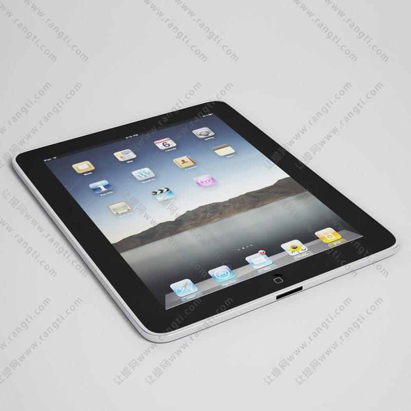 银色平板ipad3D模型