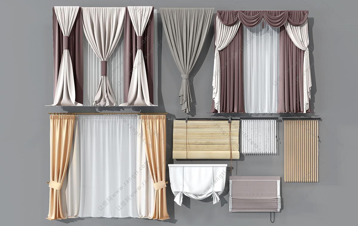 现代窗帘、卫生间窗帘、竹帘、拉帘、罗马帘3D模型