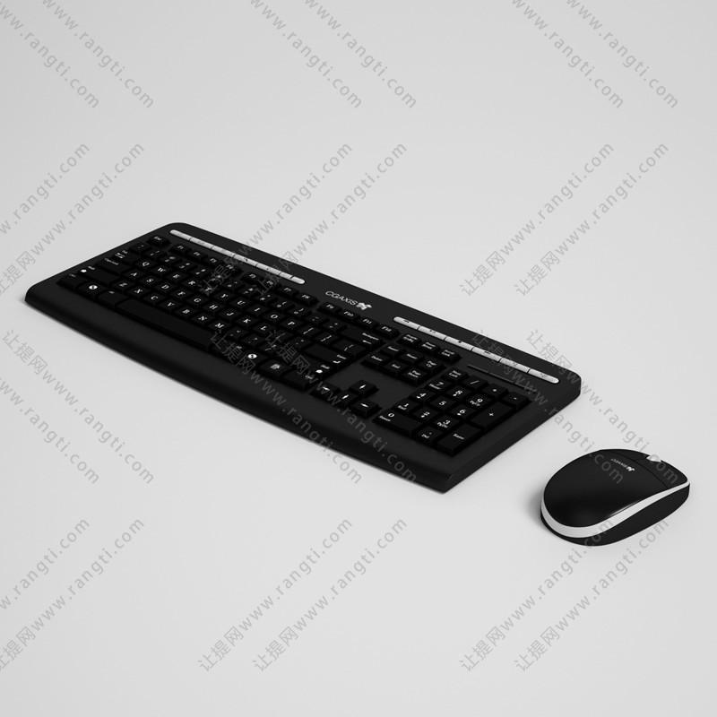黑色无线鼠标键盘3D模型