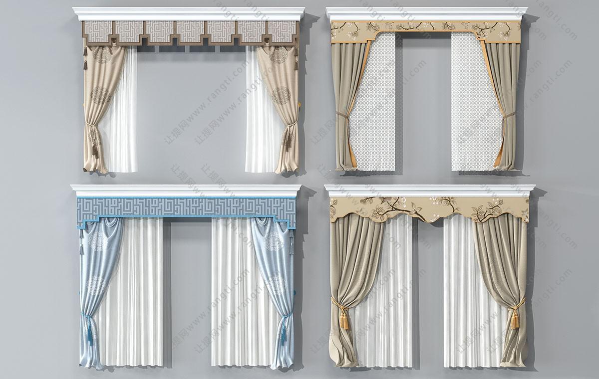 新中式古典元素图案窗帘、窗幔3D模型