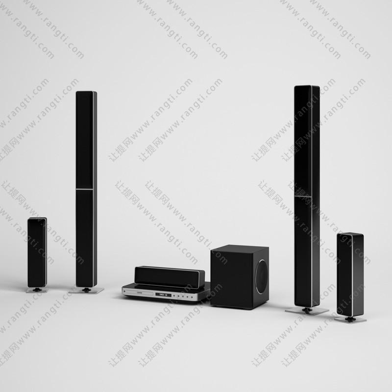 高低音箱柱、低音炮及DVD机3D模型