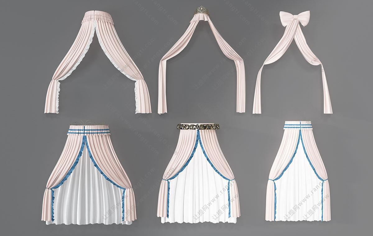 欧式窗帘、床帏、窗幔3D模型