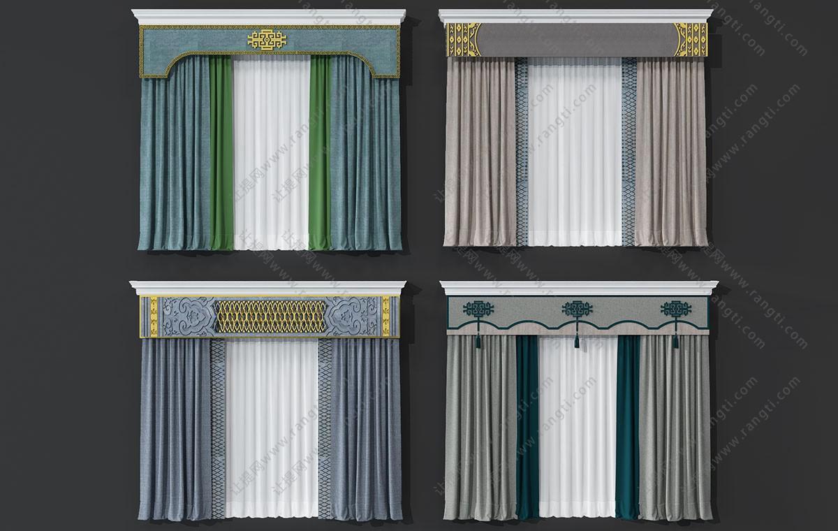 新中式窗帘3D模型