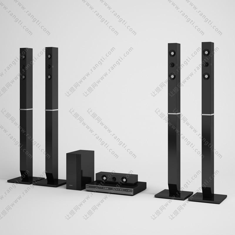 立柱音箱、DVD机组合3D模型