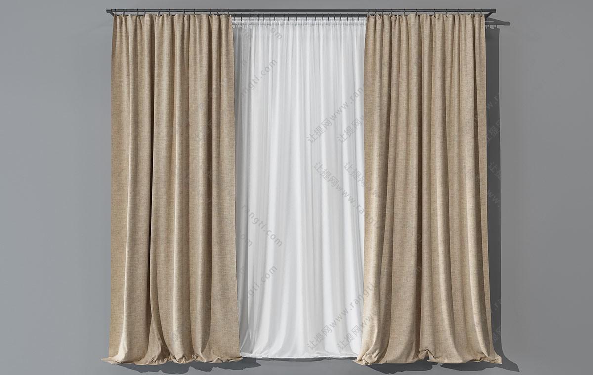 现代纯色窗帘、纱帘垂帘3D模型