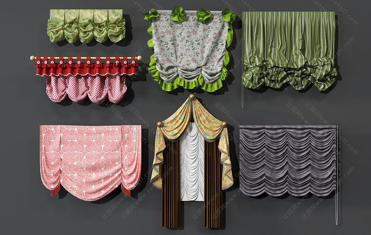 田园花朵图案窗帘、拉帘、窗幔、床帏3D模型