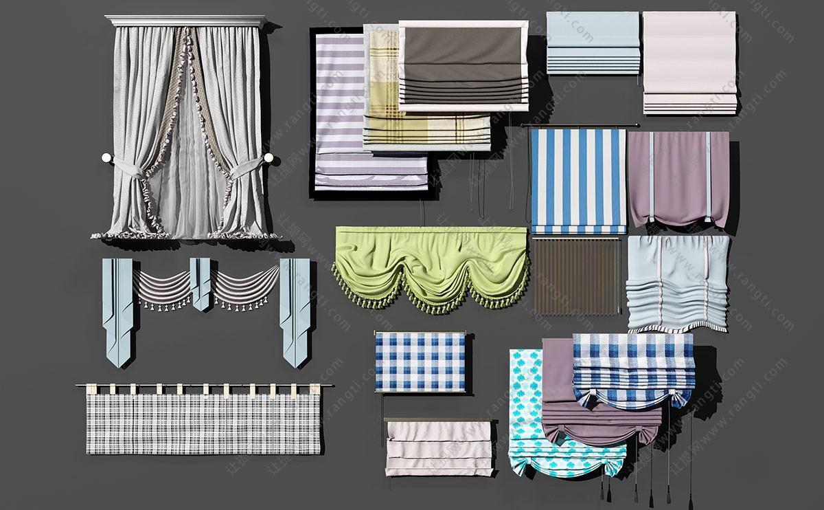 美式田园窗帘、拉帘、罗马帘3D模型