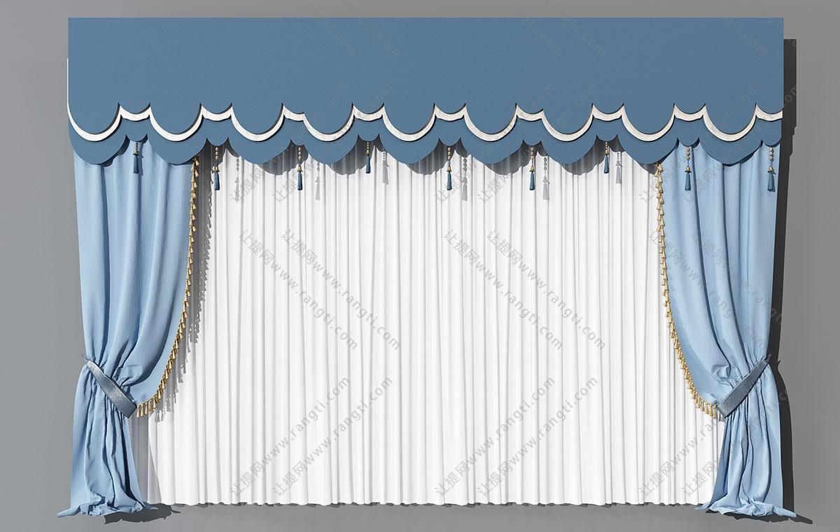 新中式蓝色窗帘、云朵窗幔3D模型