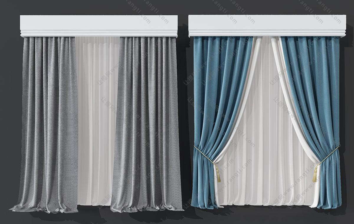 北欧纯色窗帘3D模型