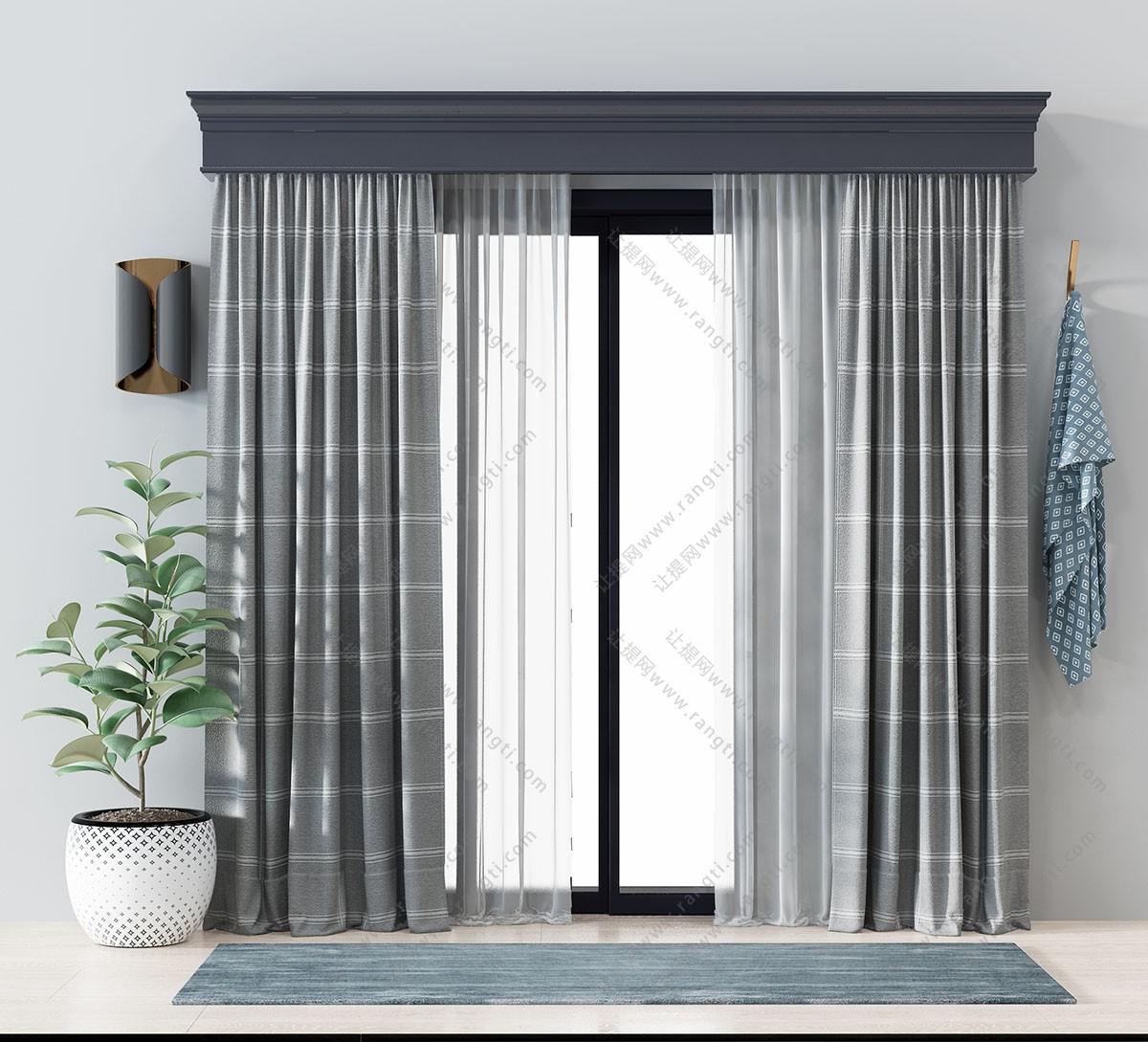 北欧灰色布艺方格图案窗帘3D模型