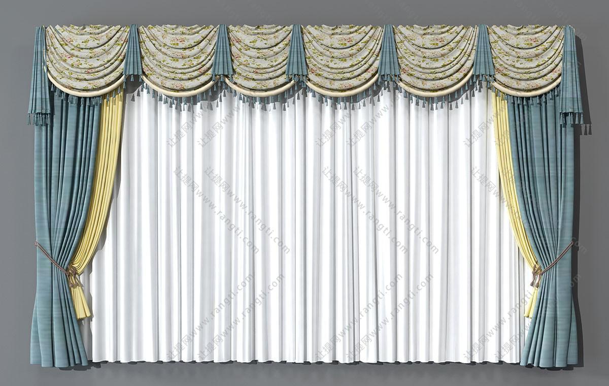 欧式田园花卉窗帘3D模型