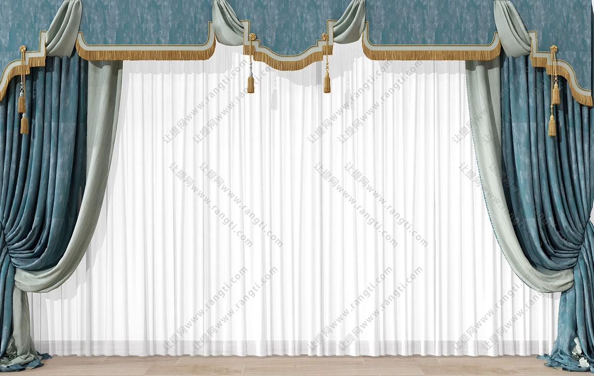 欧式古典蓝色暗纹窗帘、带穗窗幔3D模型