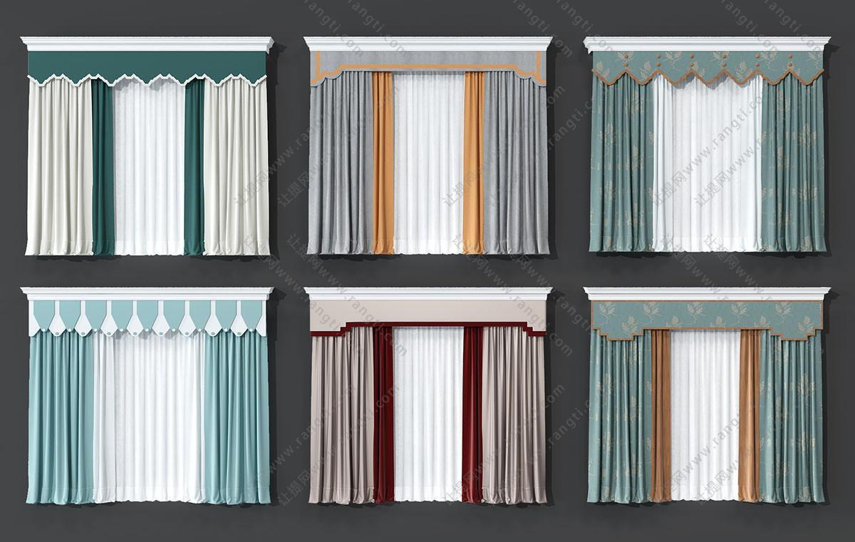 新中式窗帘、窗幔、窗帘盒3D模型