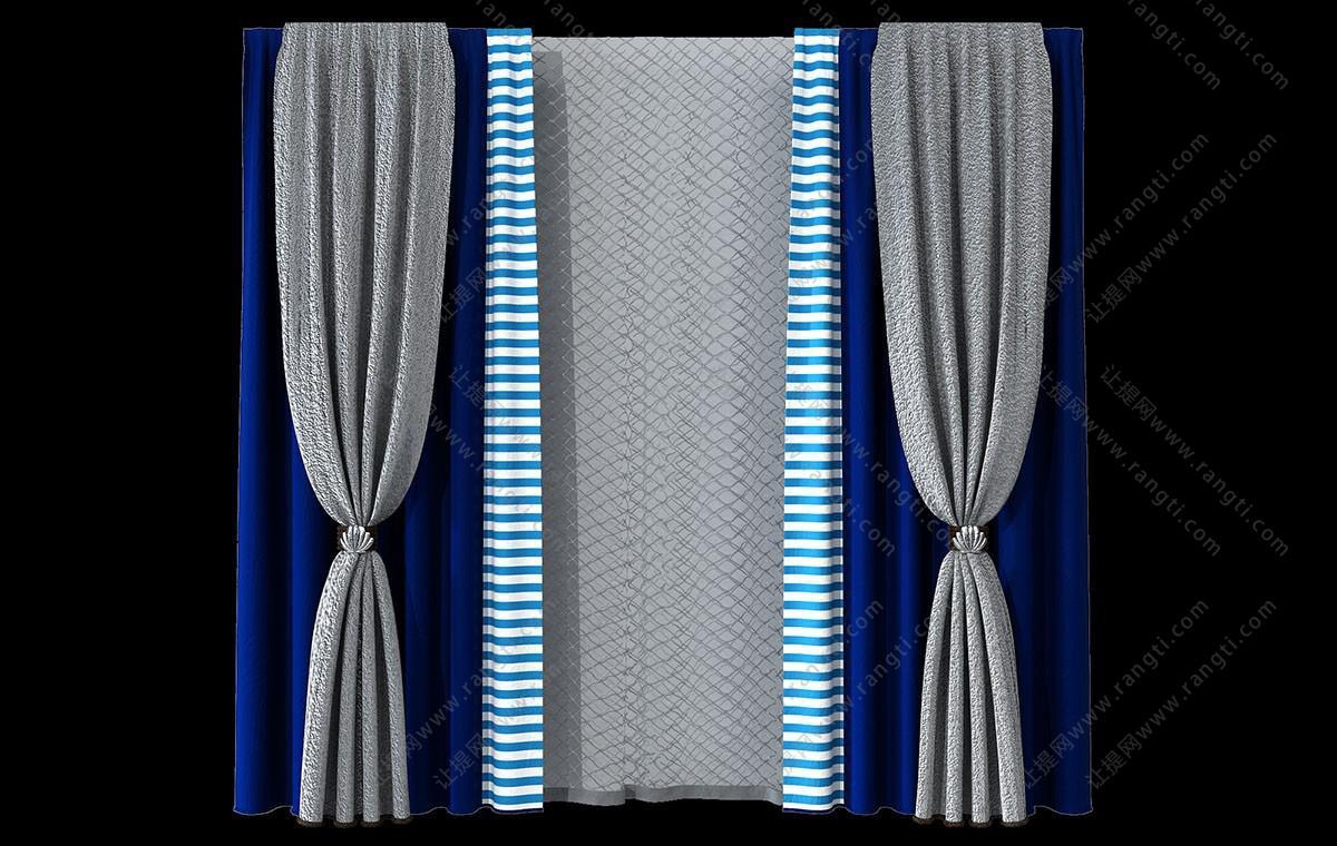现代蓝白相间条纹套色窗帘3D模型