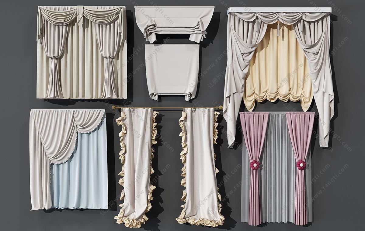 欧式荷叶边窗帘、窗幔3D模型