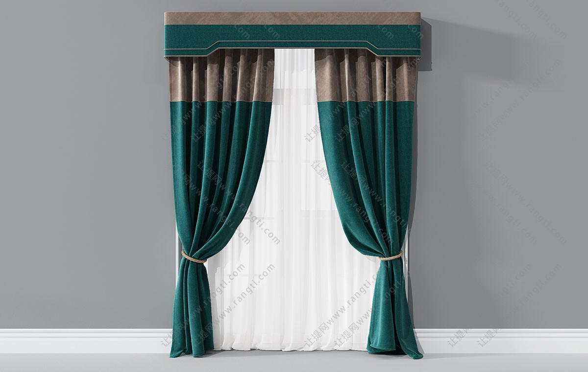 新古典套色窗帘3D模型