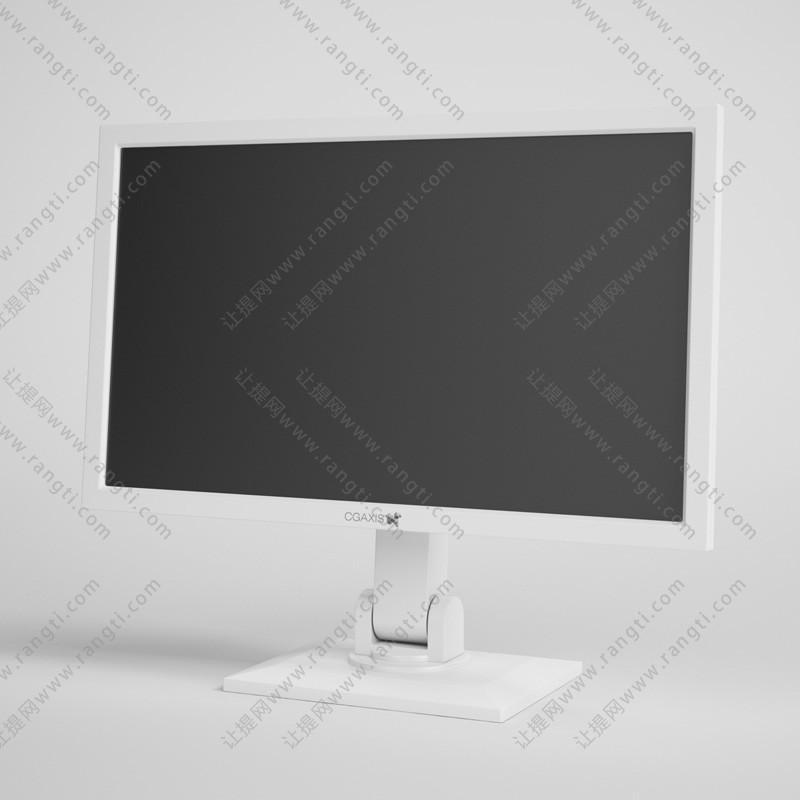 白色可调节前后角度电脑显示器3D模型