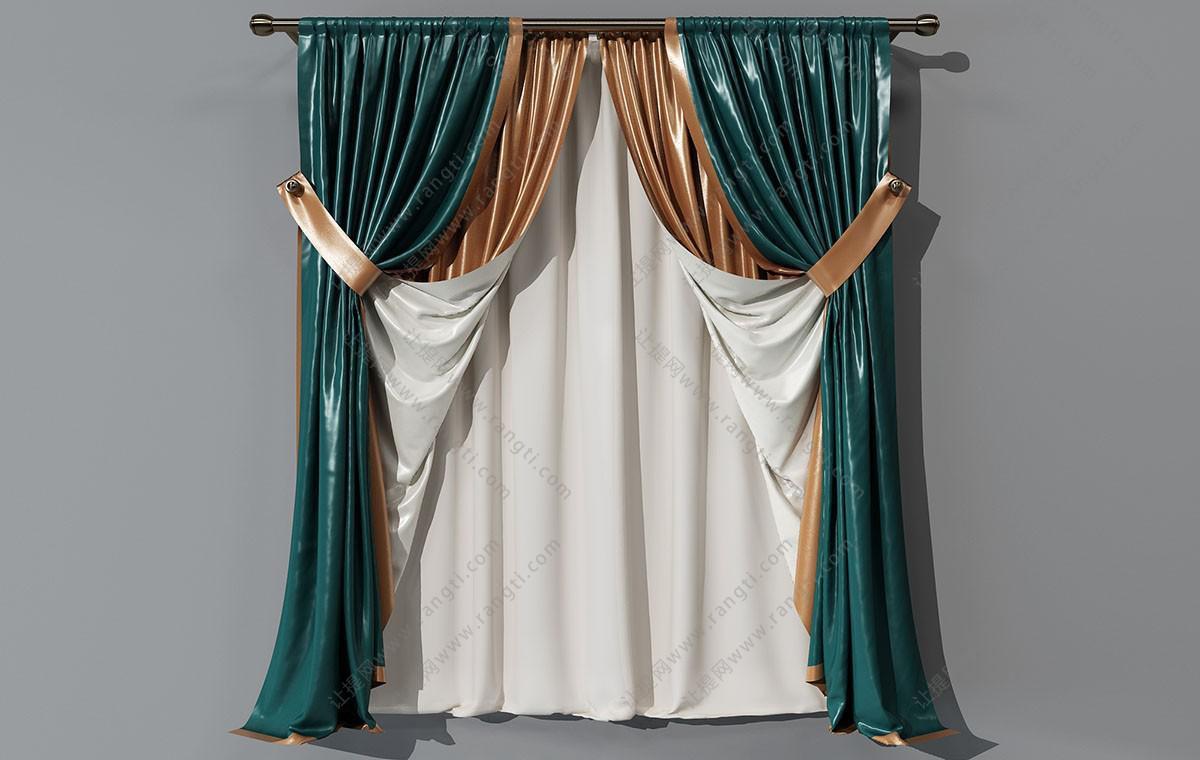 欧式皮革套色窗帘、窗帘杆3D模型