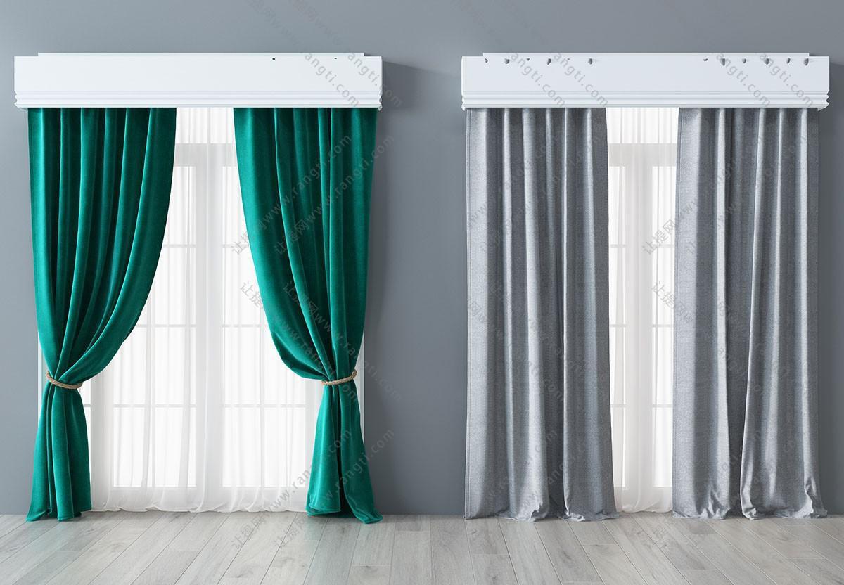 现代简约窗帘、纱帘3D模型