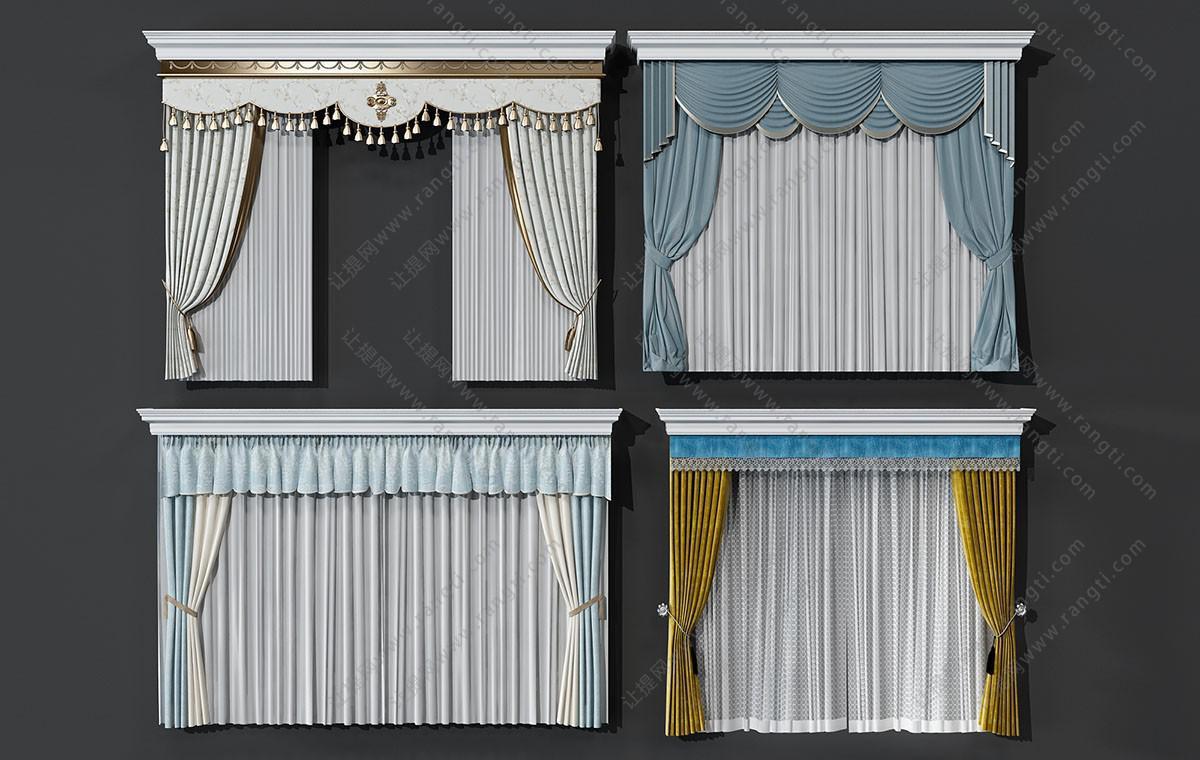 欧式儿童房窗帘、窗幔3D模型
