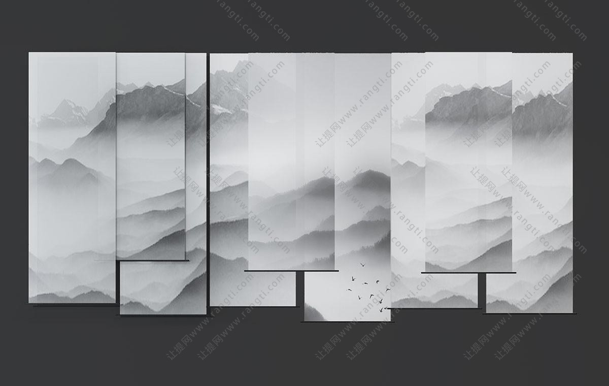 中式水墨山水挂帘、卷帘窗帘3D模型