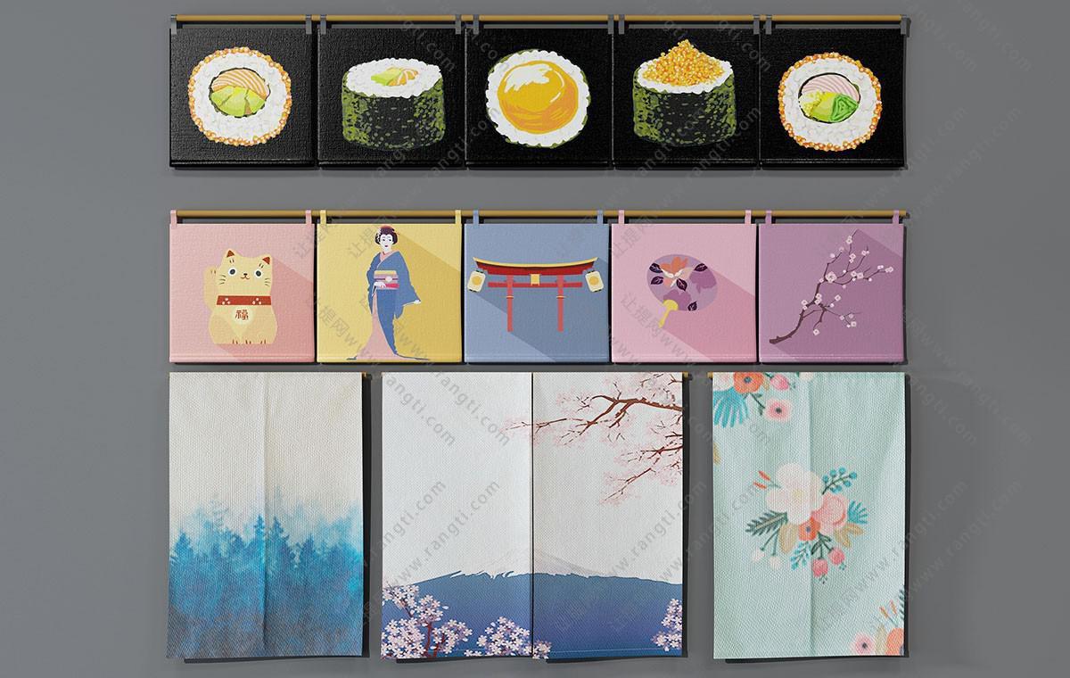 日式食品、人物、花卉、风景窗帘3D模型
