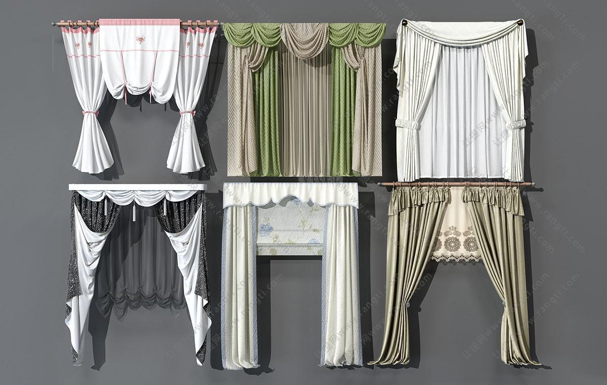 欧式窗帘、纱帘3D模型