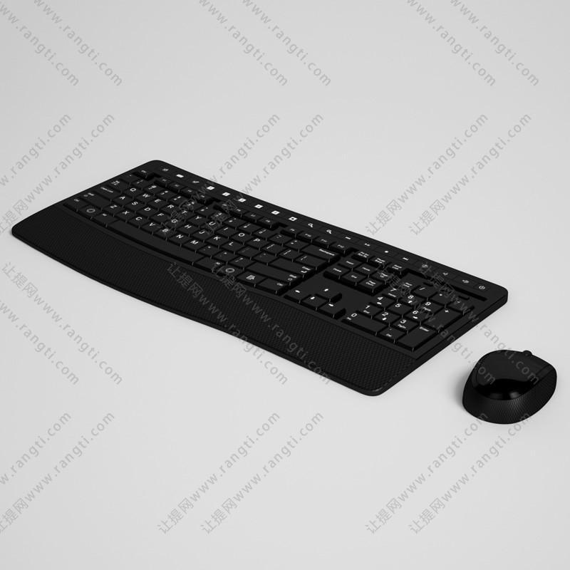 宽边框黑色无线鼠标键盘3D模型