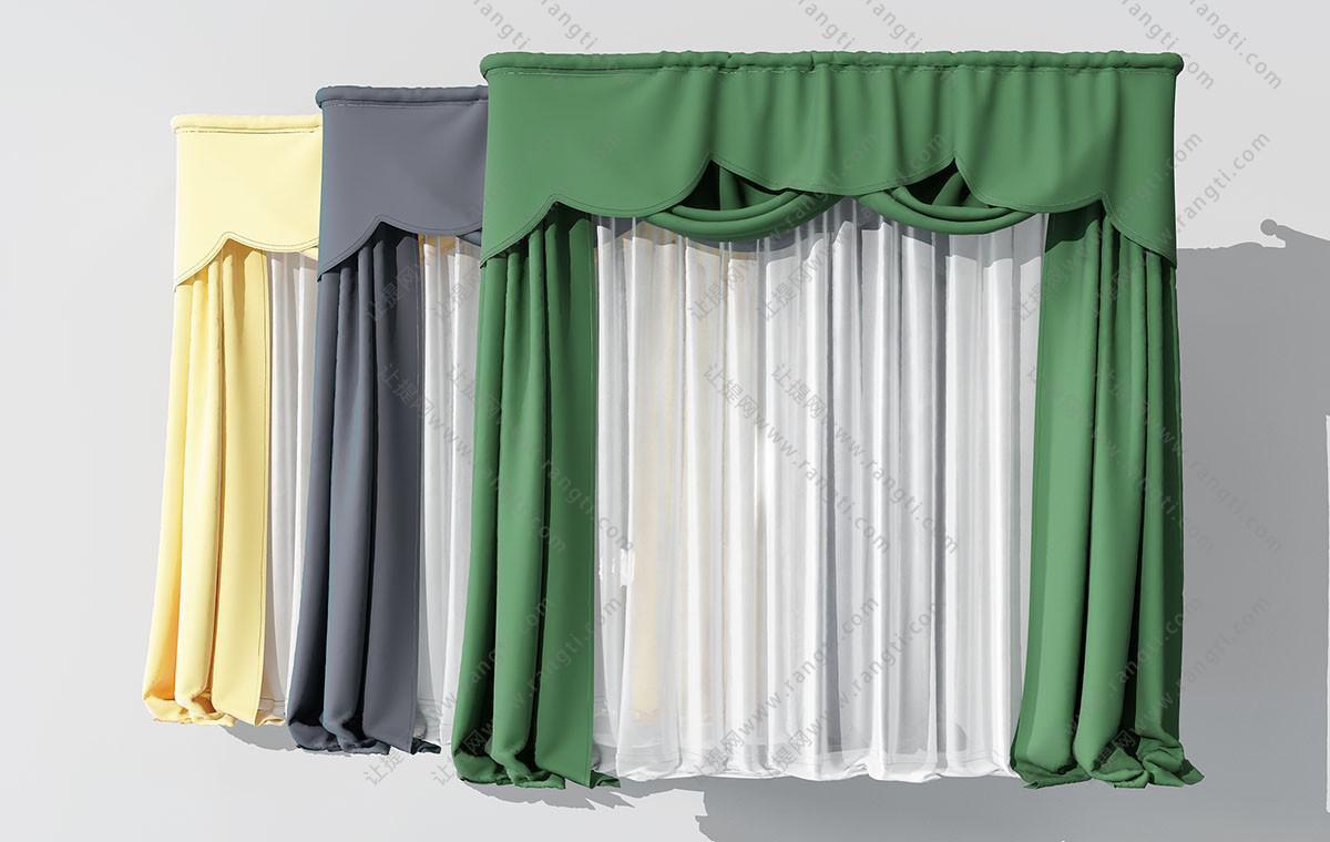 欧式纯色窗帘、纱帘3D模型