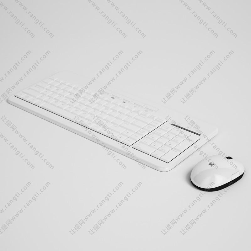 白色无线鼠标键盘3D模型