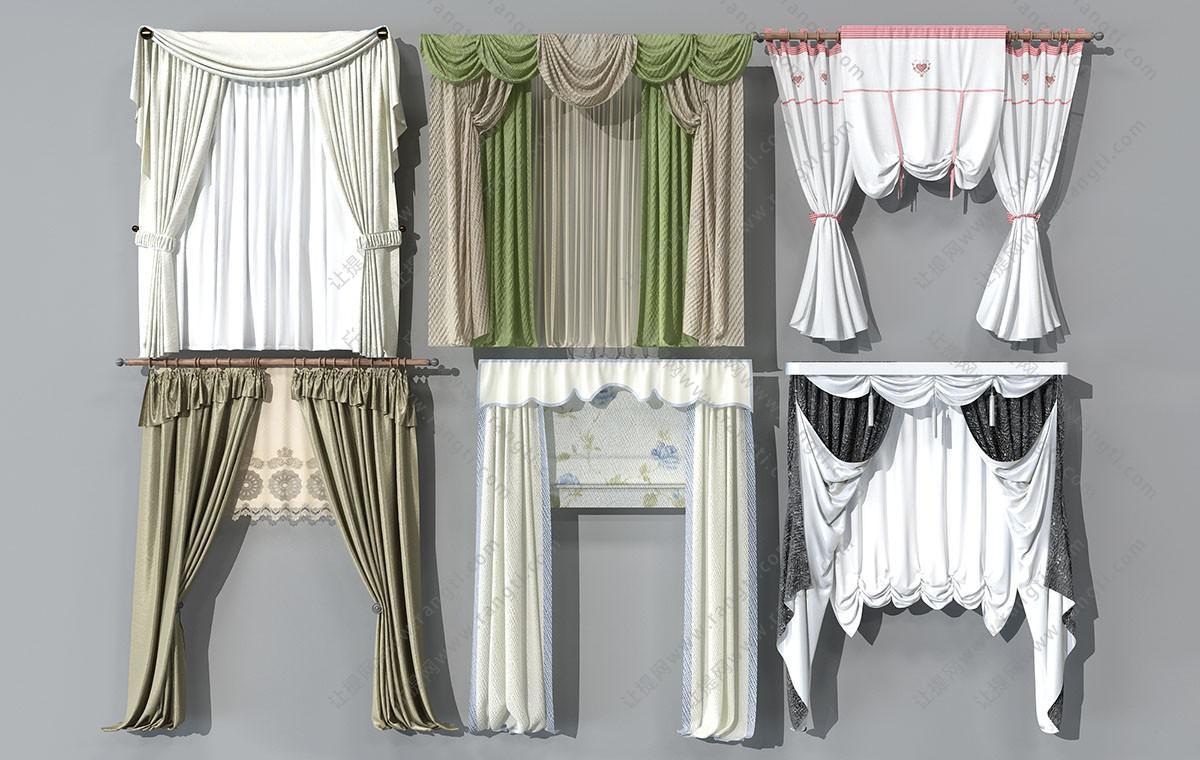 新古典窗帘、纱帘、窗幔3D模型