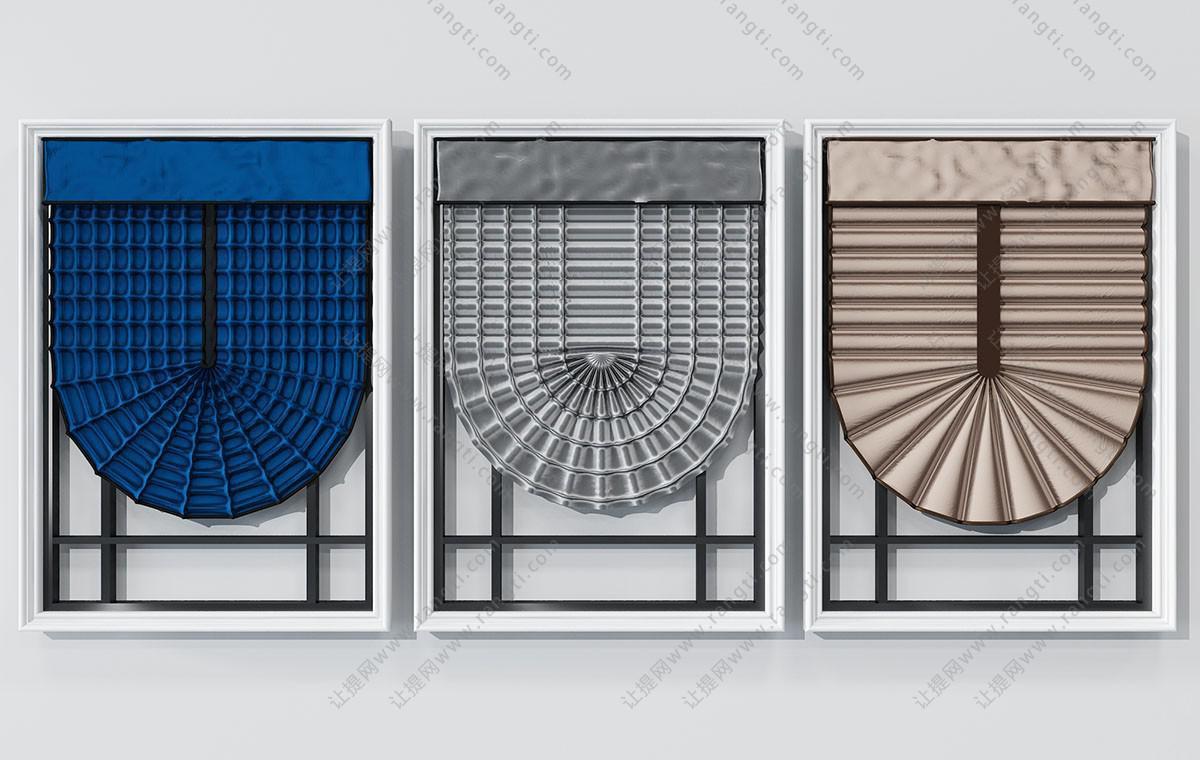 现代罗马帘、卷帘、窗框3D模型
